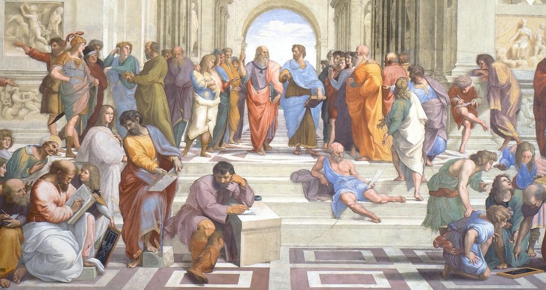 Raphaël, L'École d'Athènes, 1509-1510 ; au centre, Platon à gauche, Aristote à droite.