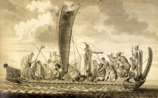 Une pirogue et son équipage.