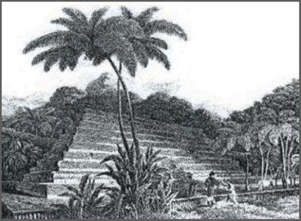 pyramide de Tahiti, le Marae Mahaiatea, aujourd'hui détruite.